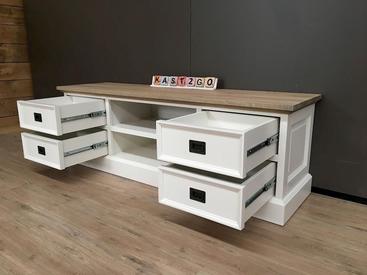 Gerookt Eiken Meubels : Tv meubel finn wit eiken 165 kast2go